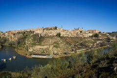 View of Toledo from  opposite bank of the river Tajo, Royalty Free Stock Photos