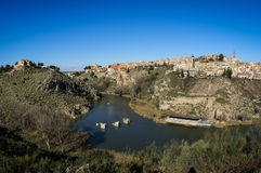 View of Toledo from  opposite bank of the river Tajo, Royalty Free Stock Photo