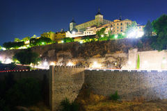 View of Toledo from river in midnight Royalty Free Stock Photo