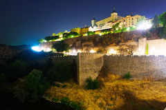 View of Toledo from river in summer midnight Royalty Free Stock Images