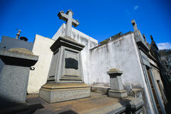 View of a tomb with a cross at the La Recoleta Cemetery Royalty Free Stock Photos