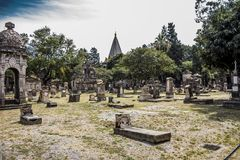 View of the tombs in the cemetery of Belen in Guadalajara. Jalisco Mexico on a magical and mysterious day full of legends, copy space, travel, halloween concept stock image