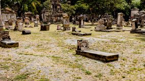 View of the tombs in the cemetery of Belen on a magical and mysterious day. Full of legends in Guadalajara Jalisco Mexico, copy space, travel, halloween concept royalty free stock image