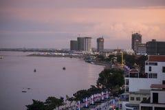 CAMBODIA PHNOM PENH TONLE SAP RIVER CITY Royalty Free Stock Images