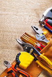 View toolbelt with construction tools nippers Stock Images