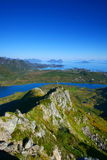 View from the top. A long-range view of Lofoten, an archipelago in the Norwegian Arctic Circle Stock Photo