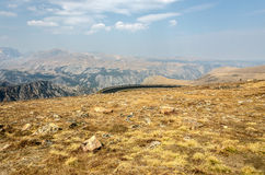 View at the Top. View of hairpin turn and the Absaroka-Beartooth Mountains in Wyoming with smoke in the air from forest fires.  It felt like the top of the world Royalty Free Stock Photo