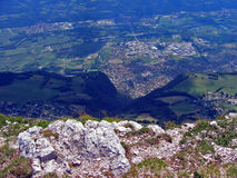 View from the top. Looking down to the valley below from the top of the chartreuse mountains (2000m stock photography