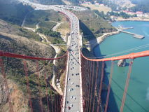 A View From the Top. This is a crystal clear view from the top of the Golden Gate Bridge in San Francisco Stock Photo