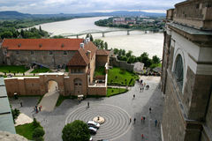 View from top. Danube as borderline between Hungary and Slovakia from bird's eye view Royalty Free Stock Photos