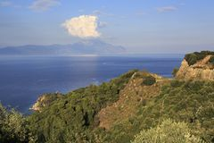 View from the top on Aegean Sea and Mount Athos. Stock Photography