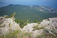 View from the top of Ai-Petri. A majestic view of Big Yalta. Ai-Petri. 1234 m. above the See stock photos