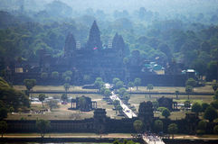 View on top of Angkor Wat at morning in Siemreap city in Cambodia at morning Royalty Free Stock Photography