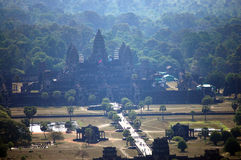 View on top of Angkor Wat at morning in Siemreap city in Cambodia at morning Royalty Free Stock Images