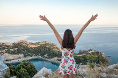 View from top on Anthony Quinn Bay and beach, Rhodes in Faliraki. Stock Photo