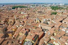 View from the top of Asinelli tower to Bologna, Italy. Royalty Free Stock Photo