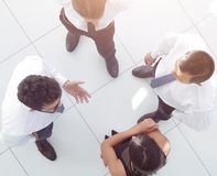view from the top. the background image of a business team discu stock images