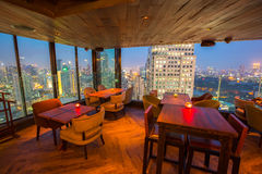 View from the top of Bangkok Building rooftop bar & restaurant Stock Photos