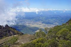 A view from the top of Baru Volcano, Panama to the valley with town in the distance Royalty Free Stock Photos