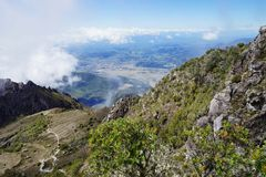 A view from the top of Baru Volcano, Panama to the valley with town in the distance Stock Image
