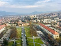 View from the top of the Basilica of Esztergom stock image