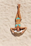 View from top of beautiful woman in bikini on sand Stock Photography