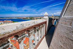 View from top of bell tower of church of St. Anastasia in Zadar Stock Images