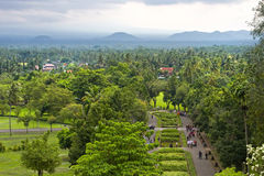 View from the top of Borobudur, Java, Indonesia. View from the top of Borobudur of lust green forest & extinct volcanoes stock images