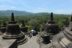 The view from the top of Borobudur temple Stock Photography