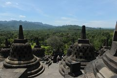 The view from the top of Borobudur temple Stock Image