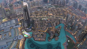 View from top of Burj Al Khalifa of  Mall and fountains, stock video footage