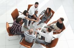 View from the top. business team shows its unity Stock Photography