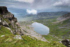 View from top of Cadair Idris looking to Llyn y Gader landscape Stock Photos