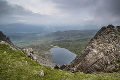 View from top of Cadair Idris looking to Llyn y Gader landscape Royalty Free Stock Photos