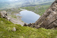View from top of Cadair Idris looking to Llyn y Gader landscape Royalty Free Stock Photo