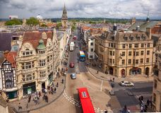 View from the top of Carfax Tower to the center of the Oxford city. Oxford University. England. OXFORD, ENGLAND - MAY 15, 2009: View from the Carfax Tower to the stock photography