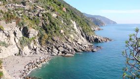 View from the top of the castle of Vernazza, Cinque Terre stock video footage