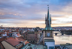 View from the top of the Charles bridge tower over the old town Stock Image
