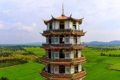 View on top Chinese-style pagoda at temple Stock Photo