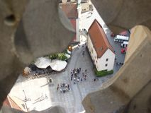 View from the top of the church tower to the old townhouse next to Market Square in Wroclaw. Hansel tenement house. View from the top of the church tower to the Royalty Free Stock Images