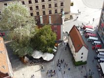 View from the top of the church tower to the old townhouse next to Market Square in Wroclaw. Hansel tenement house. View from the top of the church tower to the Royalty Free Stock Photos