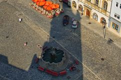 A view from the top of the city hall of city Olomouc to the Upper Square Horni namesti in Olomouc Stock Photos