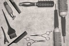 Hairdressing stylist set in black and white. royalty free stock photo