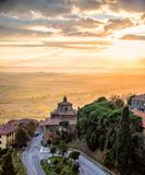 View from the top of Cortona. At sunset royalty free stock photos