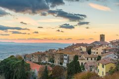 View from the top of Cortona. At sunset royalty free stock images