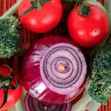 View from the top cover vegetables on a wooden platter Stock Image