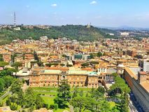 View on top. View from cupula of st peter`s basilica in rome italy. amazing architecture  and landscape Royalty Free Stock Photo