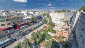 View from the top of Damascus gate to Jerusalem Old Town timelapse. Israel. stock video footage