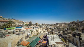 View from the top of Damascus gate to Jerusalem Old Town timelapse. Israel. stock video