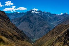 Dead woman`s pass on the Inca trail. Stock Images